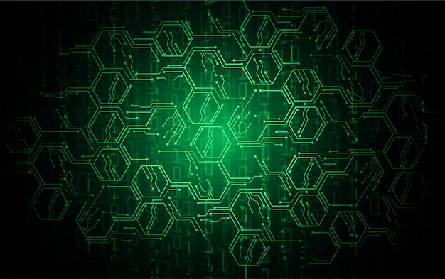 Green hexagon cyber circuit future technology concept background