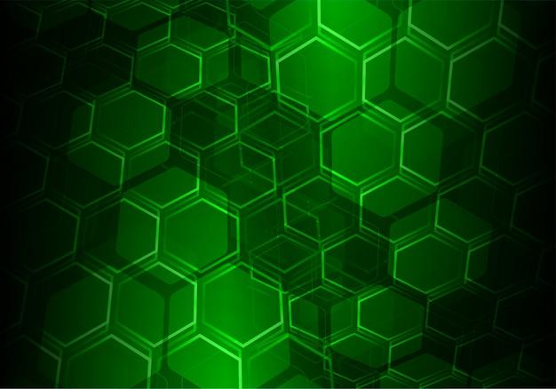 Green hexagon grid vector background