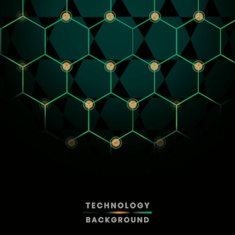 Green hexagon network technology background vector