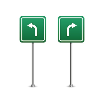 Green highway sign with arrows board. isolated on white background.