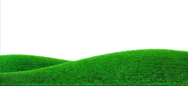 Green hills background realistic field landscape