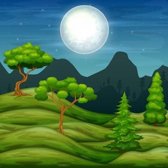 Пейзаж зеленых холмов и деревья ночью