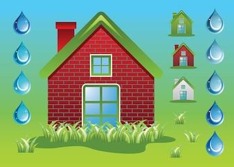Green Home Ecology Vectors