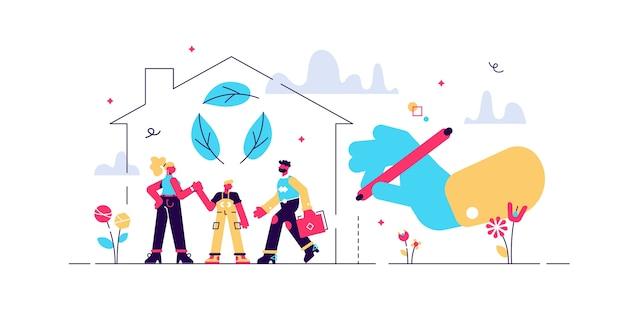 緑の家のイラスト。生態系の家の小さな人。持続可能な自然にやさしい建設資材で不動産を建設しましょう。地球を救うための建物の廃棄物ゼロのエコアプローチ