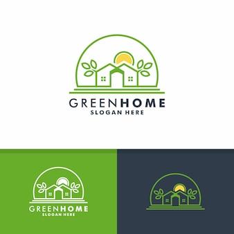 緑の家のロゴデザイン、家の自然のアイコンベクトル
