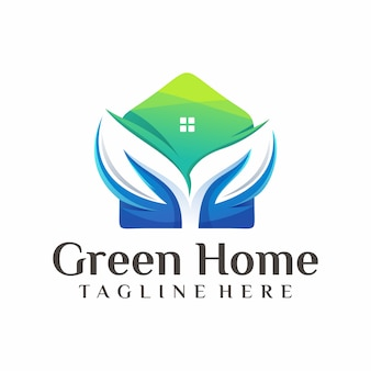 Green home logo vector, template, illustration