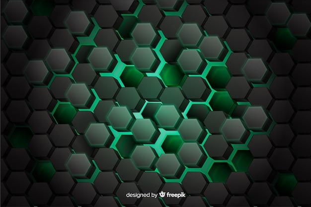 デジタル回路の背景の緑のハニカム