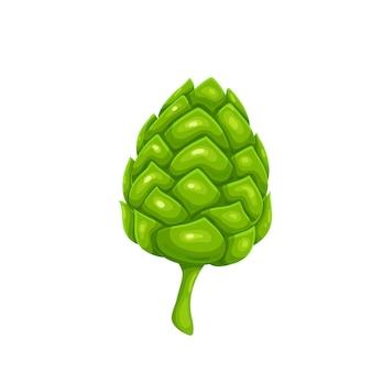 Зеленый конус хмеля, символ пивного фестиваля октоберфест. векторные иллюстрации в мультяшном стиле.