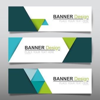 Green horizontal business banner layout template.