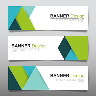 Green horizontal business banner layout template.