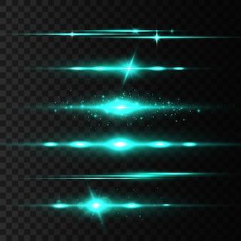Green horizontal lens flares set, laser beams