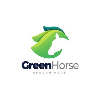 Green horse logo template design