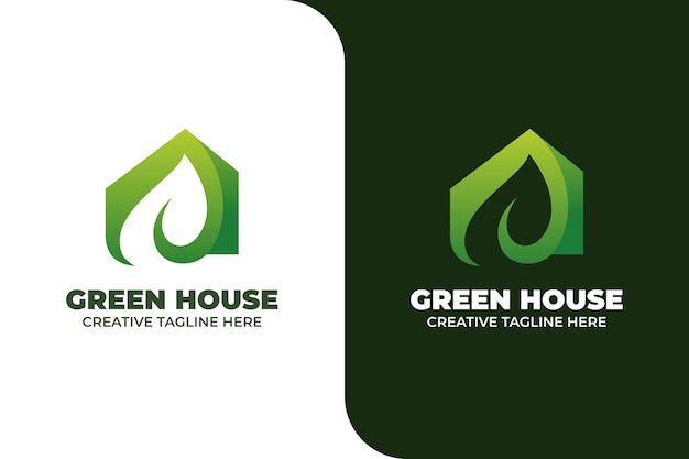 Green house building architecture gradient logo