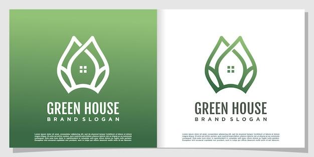 Зеленый дом креативный дизайн логотипа premium векторы