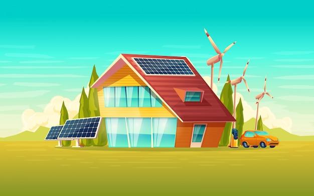Зеленый дом, электромобиль, возобновляемый экологически чистый