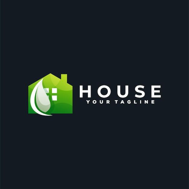 Green house gradient logo
