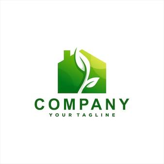 Зеленый дом градиент логотип