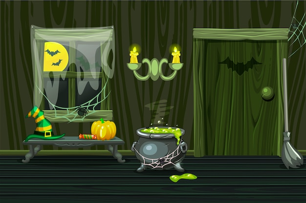 Green  house, illustration interior wooden room with halloween symbols