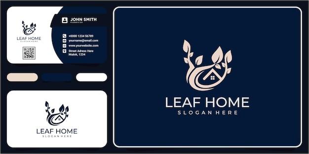 그린 하우스 리프 로고 디자인입니다. 그린 홈 자연 로고 디자인, 집 모양의 잎 개념. 잎 기호 디자인 서식 파일이 있는 가정 또는 집 자연의 라인 아트 로고