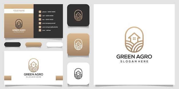 温室のロゴのデザインテンプレートと名刺。