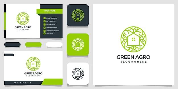 Шаблон дизайна логотипа зеленый дом и визитная карточка.