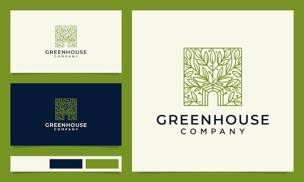 Green house logo design with hand drawn leaves concept
