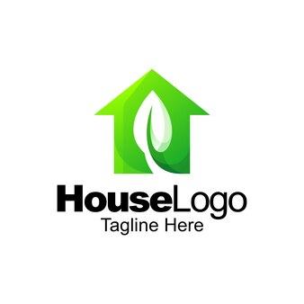 그린 하우스 로고 그라데이션 템플릿 디자인