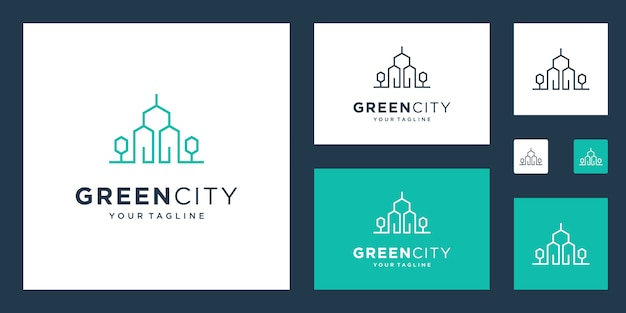 Green house logo real estate template. minimalist outline symbol for environmentally friendly buildings.