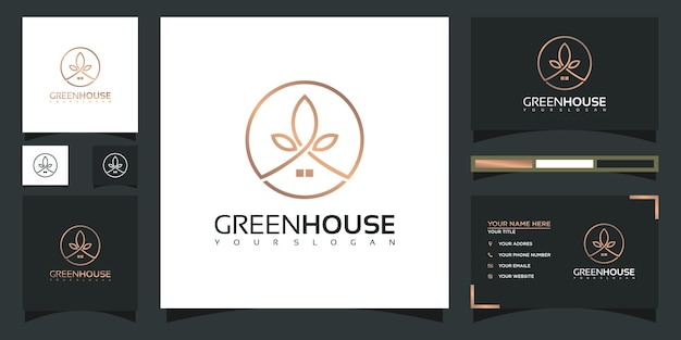 현대적인 개념과 명함 디자인을 갖춘 그린 하우스 로고 템플릿
