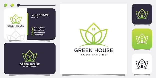 Green house logo with fresh concept premium vector