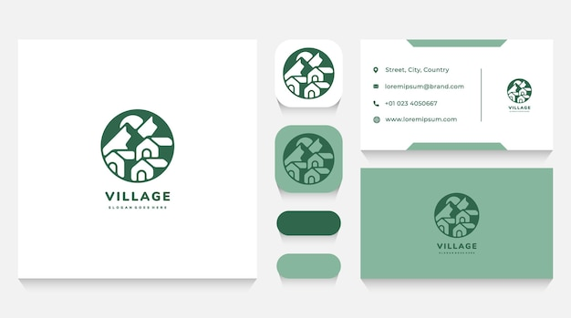 Green houses village logo template and business card