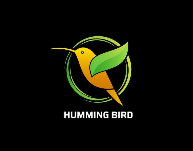 Green humming bird fly logo design.