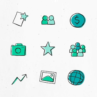 Green icon   for business use set
