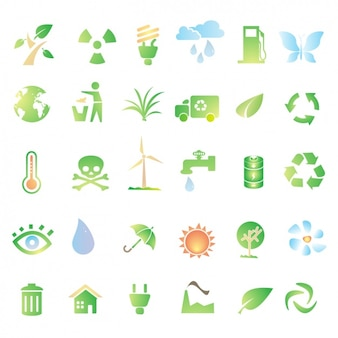 Green icons about recycling