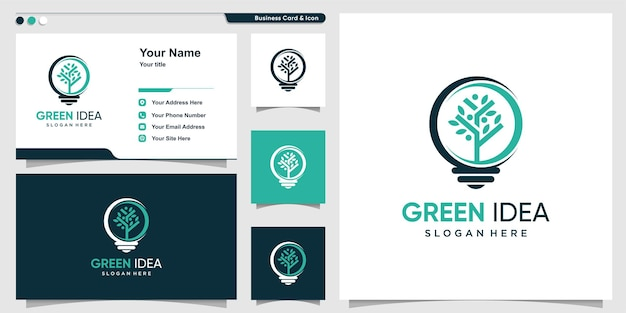 Green idea logo with modern concept and business card design premium vector
