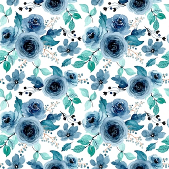 Green indigo floral watercolor seamless pattern