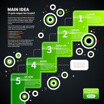 Green Infographic Steps Template