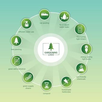 Green infographics template
