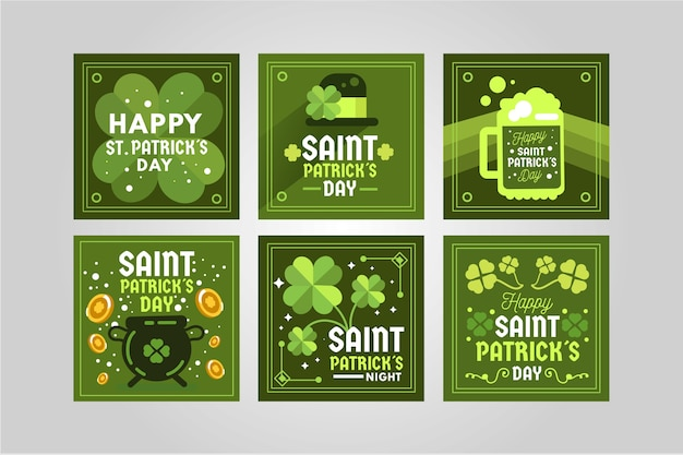Green instagram post collection for st. patrick's day