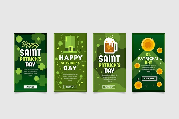 Green instagram stories collection for st. patrick's day