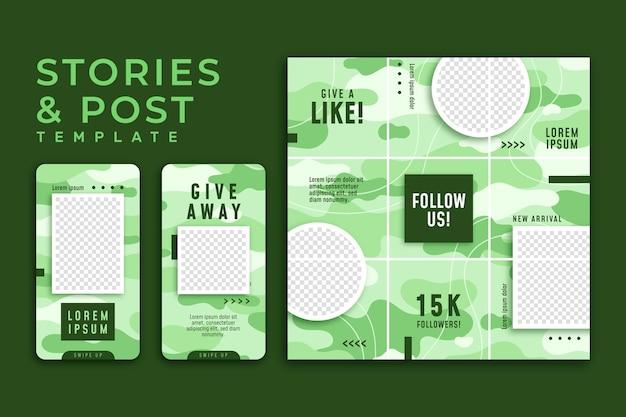 緑のinstagramストーリーテンプレート