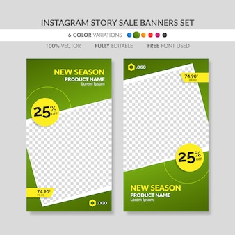 Green instagram story sale banner templates set