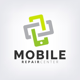 Green interlock mobile phone fix & repair logo icon template
