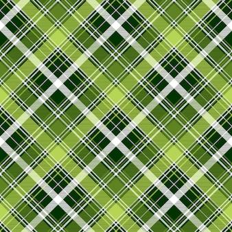 Green irish diagonal abstract plaid seamless pattern