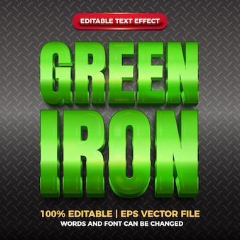 Green iron glossy editable text effect