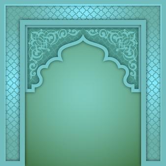 Green islamic arch design template