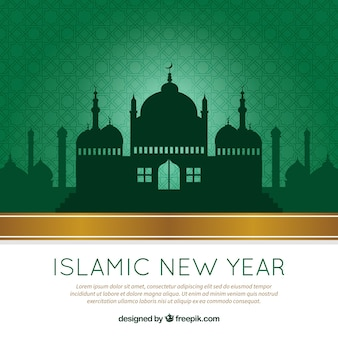 Green islamic new year background