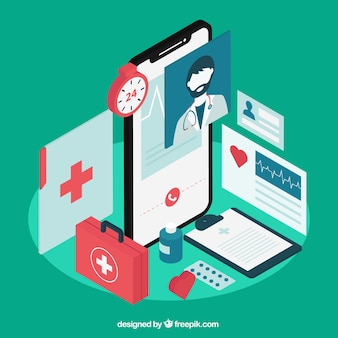 Green isometric doctor concept with smartphone