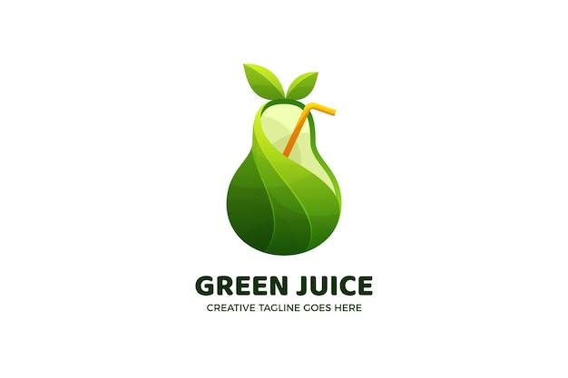 グリーンジュースのグラデーションのロゴのテンプレート