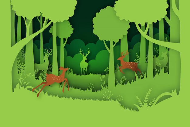 Green jungle forest nature landscape background paper art style